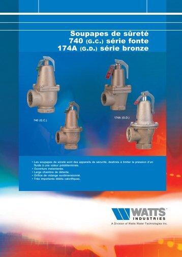 Soupapes de sûreté 740 (g.c.) série fonte 174A ... - Watts Industries
