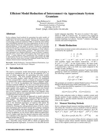 Efficient Model Reduction of Interconnect via Approximate System ...