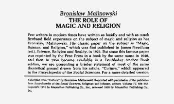 Malinowski and magic