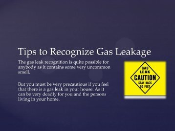 Tips to Recognize Gas Leakage