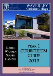 Year 1 Curriculum Guide - Waverley Christian College