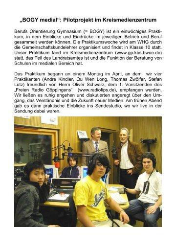 """""""BOGY medial"""": Pilotprojekt im Kreismedienzentrum - WHG"""