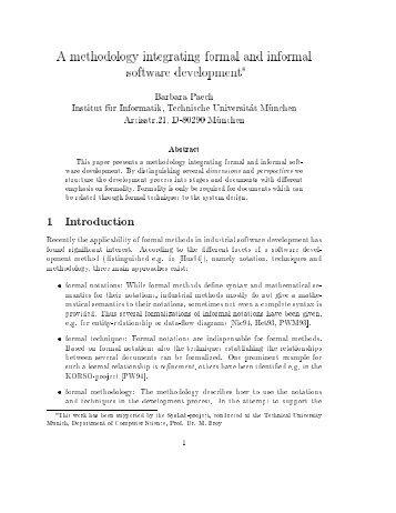 A methodology integrating formal and informal software development