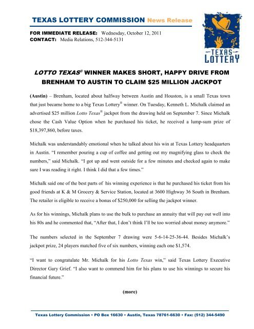 TEXAS LOTTERY COMMISSION News Release - Txlottery