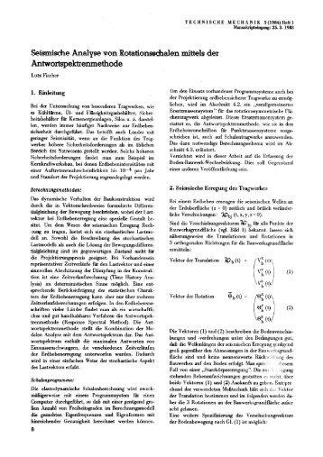 Seismische Analyse von Rotlationsschalen mittels der ...