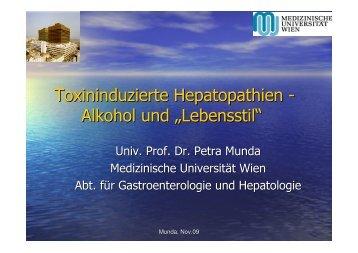 """Toxininduzierte Hepatopathien - Alkohol und """"Lebensstil"""""""