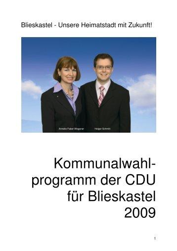 Das Kommunalwahlprogramm der CDU Blieskastel ... - CDU Saar