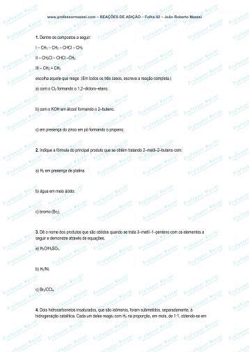 1. Dentre os compostos a seguir: I – CH3 – CH2 ... - Professor Mazzei
