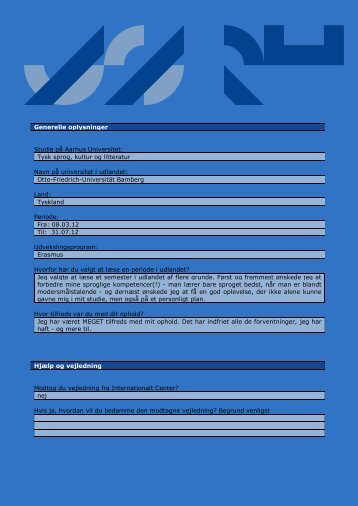 Generelle oplysninger Studie på Aarhus Universitet: Tysk sprog ...