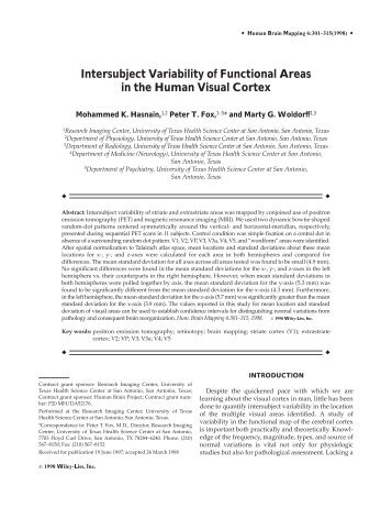 Intersubject variability of functional areas in the ... - Purdue University