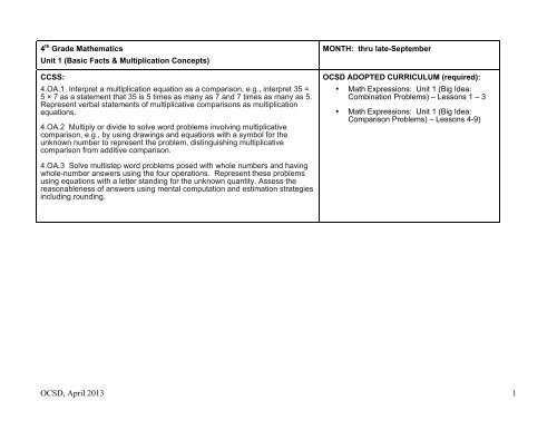 4th Grade Math Curriculum Map Pdf Oregon City School District