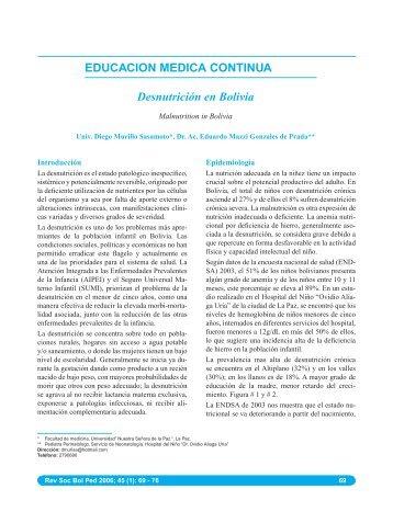 EDUCACION MEDICA CONTINUA Desnutrición en Bolivia