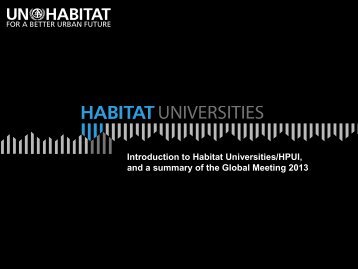 Summary of Global Meeting 2013 - UN-Habitat