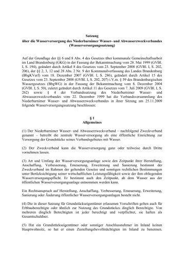 Satzung über die Wasserversorgung - NWA-Zehlendorf