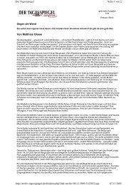 """""""Gegen die Wand"""" Tagesspiegel, 06.11.05 (PDF, 100kB)"""