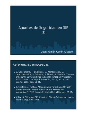 Apuntes de Seguridad en SIP