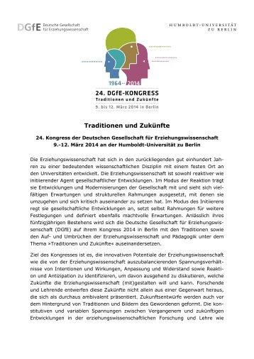 24. DGfE-Kongress 2014 -- Traditionen und Zukünfte -- Call for Papers