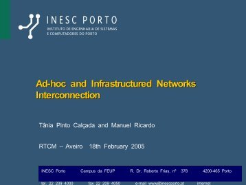 Ad-hoc and Infrastructured Networks Interconnection - INESC Porto