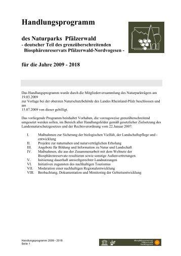 Handlungsprogramm - Naturpark Pfälzerwald