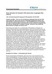 Keine Schulden für Karlstein! CSU stimmt dem vorgelegten Etat ...