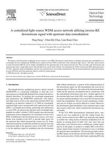 A centralized-light-source WDM access network utilizing inverse-RZ ...