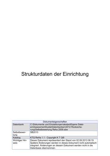 Strukturdaten der Einrichtung - KTQ