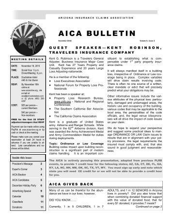 AICA BULLETIN - the Arizona Insurance Claims Association