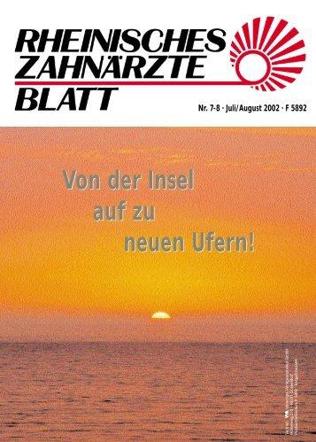 Rheinisches Zahnärzteblatt 07-08/2002 - Zahnärztekammer Nordrhein