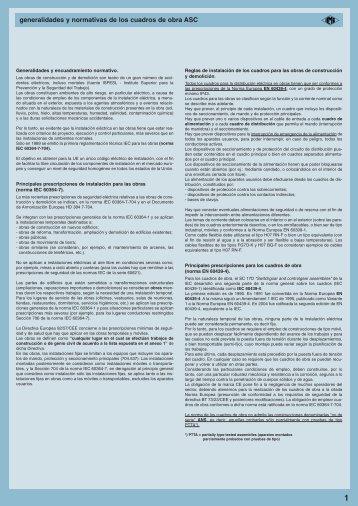 generalidades y normativas de los cuadros de obra ASC - Ilme