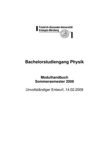 Modulhandbuch für den Bachelorstudiengang Physik SS 09