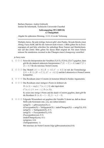 Aufgabenzettel 4 - Institut für Informatik - Technische Universität ...
