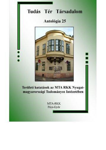 könyv elektronikus változata - MTA Regionális Kutatások Központja