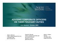 advising corporate officers on their fiduciary duties - Squire Sanders