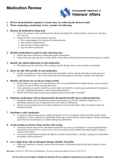 Medication Review Template Pdf 58 Kb