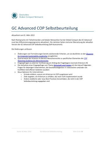 GC Advanced COP Selbstbeurteilung - Deutsches Global Compact ...