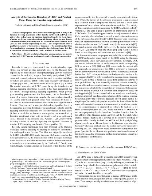 Analysis of the iterative decoding of ldpc and product codes using ...