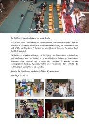 Neuigkeiten Tag der offenen Tür 2013 - Gymnasium Grimmen