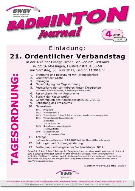 4/2012 - Baden - Württembergischer  Badminton - Verband