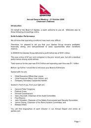 Chairmans Address - Annual General Meeting 2009 - Qantas