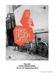 Press file PARIS DESIGN WEEK 10th to 16th September 2012