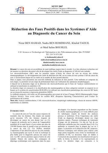 Réduction des Faux Positifs dans les Systèmes d'Aide au Diagnostic ...