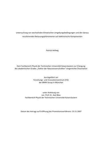 Untersuchung von wechselnden klimatischen - Fachbereich Physik ...