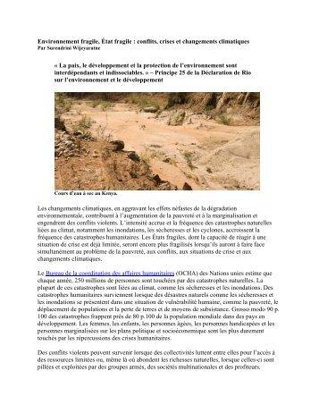 conflits, crises et changements climatiques