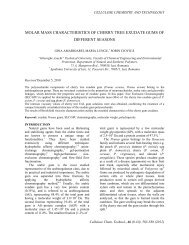 molar mass characteristics of cherry tree exudate gums of different ...