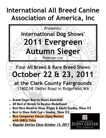2011 Evergreen Autumn Sieger - International All Breed Canine ...