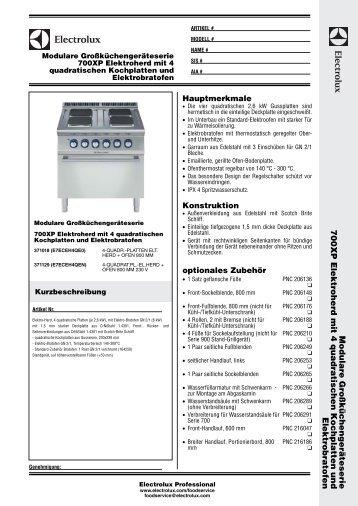 700XP Elektroherd mit 4 quadratischen Kochplatten und - Electrolux