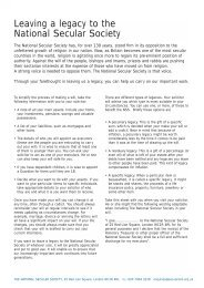 Download Our Legacies Leaflet - National Secular Society
