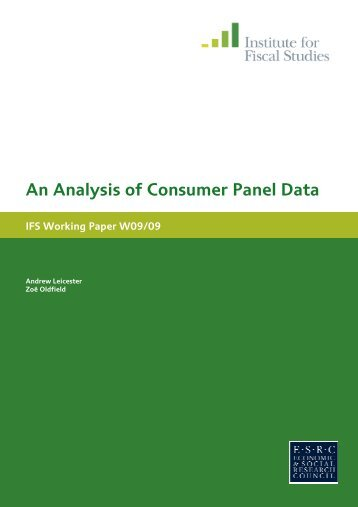 'An analysis of consumer panel data', IFS Working Paper, WP09