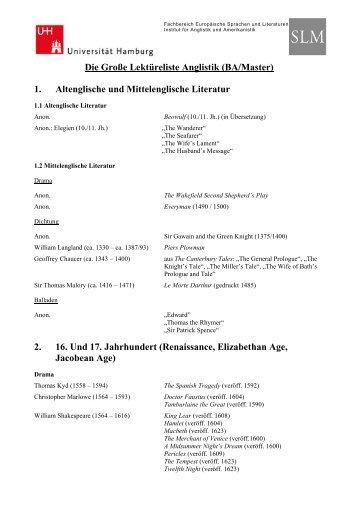 Die Große Lektüreliste Anglistik (BA/Master) 1. Altenglische und ...