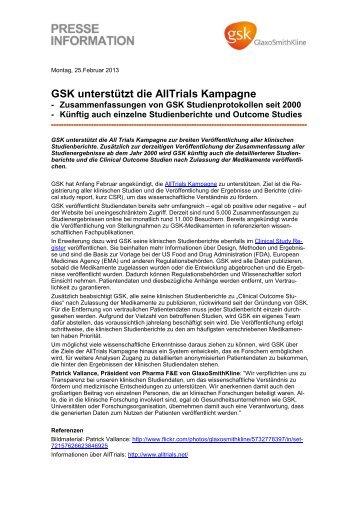 GSK unterstützt die AllTrials Kampagne - GlaxoSmithKline Pharma ...